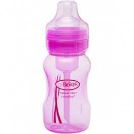 Biberón Boca Ancha Dr. Brown´s 240 ml Rosa con tetina nivel 1