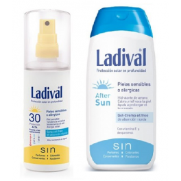 Duplo Ladival Corporal Piel Sensible o Alérgica Fotoprotector Spray Gel Crema Fps 30 Alta 150 ml + After Sun 200 ml