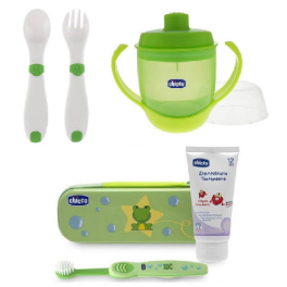 Set vuelta al cole CHICCO (Set dental + Cubiertos + Vaso)