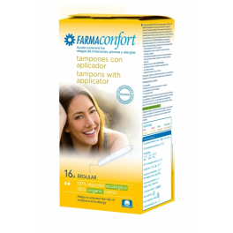 Tampones de Algodón con aplicador biodegradable Farmaconfort Regular 16 unds