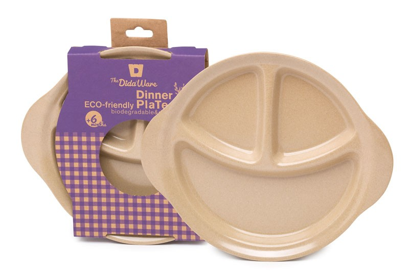 Plato infantil Eco-Friendly fibra de arroz con compartimentos The Dida World